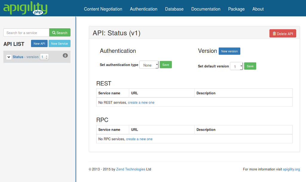 API Tools API Overview Screen