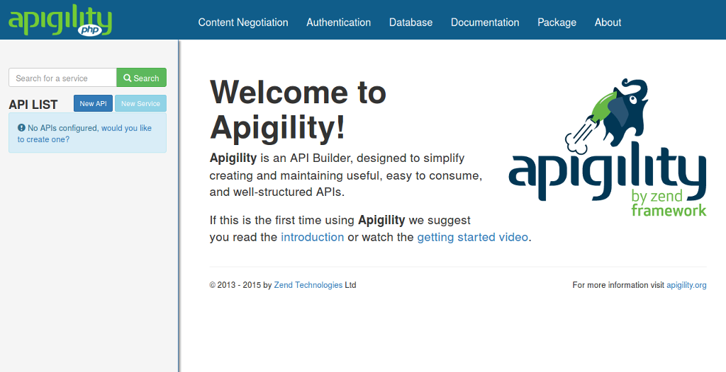 API Tools Welcome Screen